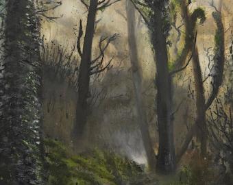 Dark forest painting by Evan Alderton