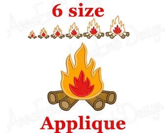 Campfire Applique Embroidery Design. Bonfire Applique Embroidery Design. Campfire Wood. Camping Embroidery Design. Campfire mini