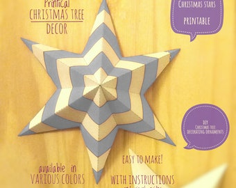 Christmas stars, DIY, printable, Christmas decor, diy Christmas ornaments, Christmas art, holiday decor, stars,4 Christmas tree, gray