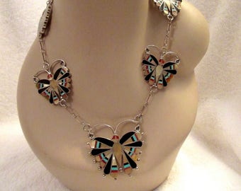 ZUNI Butterfly Necklace Inlay Sterling Silver MOP Onyx Turquoise Coral Signed SD