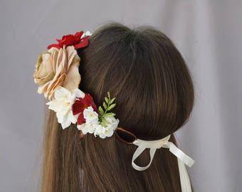 Flower crown, bridal flower crown, tie-back flower crown, flower headband, taupe burgundy flower crown