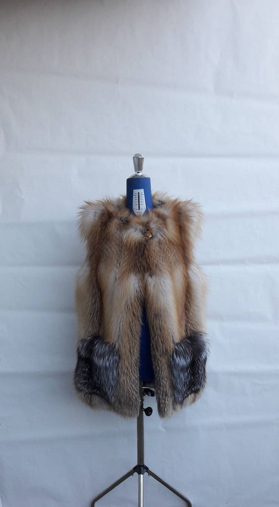 Brand New Model!!!! REAL GOLD fOX fUR VEST full skin and silver fox fur pockets full skin