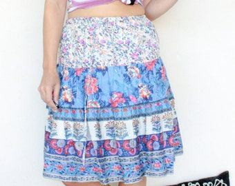 Vintage Bohemian Indian Print Tiered Skirt