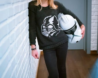 Darth Vader Sweater, Star Wars Sweater, Hand Knit Bespoke Sweater, The Last Jedi Pullover, Stormtrooper, Made to Order, Replica Sweater