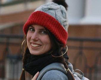 Winter Pom Pom Hat for Women, Knit Hat with Pom, Women Winter Hat, Beanie Hat with Pom, Warm Winter Hat, Wool Hat, Grey Hat with Pom