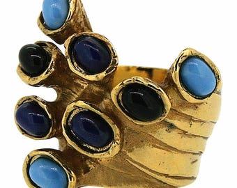 Yves Saint Laurent 1990s Vintage Blue Glass Ring
