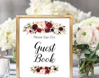 Guest Book Sign, Wedding Guest Book Printable Sign, Please Sign Our Guest Book, Guest Book Printable, Burgundy, Gold, #D021