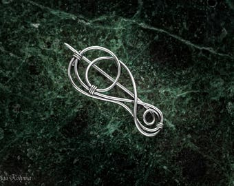 Silver brooch Celtic shawl pin Wire wrapped brooch Scarf pin gift for her OOAK