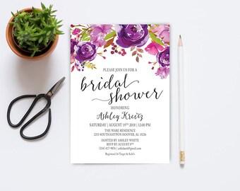 Watercolor Bridal Shower invitation, Bridal shower invitation, Rustic bridal shower invitation, Floral Bridal Shower - US_BI0801