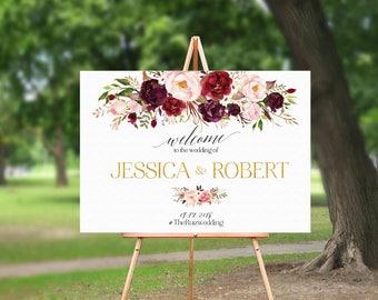 Wedding Welcome Sign, Bohemian Wedding Sign, Printable Wedding Sign, Welcome Wedding Sign, Floral Wedding Sign, Wedding sign, Reception Sign