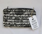 Peony Floral Block Printed Zip Pouch // Black White Striped Chambray