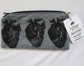 Anatomical Heart Block Printed Zip Pouch // Grey Chambray