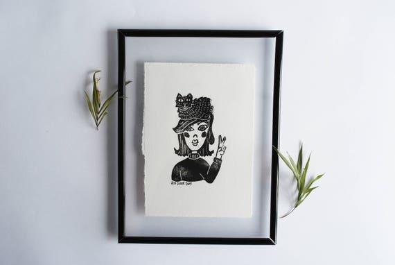 Woman Cat-Hat Linocut Print // Framed Print // Stamp // Kitty Love Portrait // Cat Lover