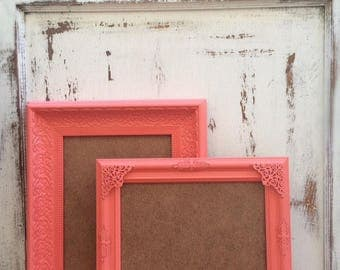 Set of 2, 8x10 Picture Frames, Coral, Shabby Chic, French Country, Ornate, Photo Frame, Embellished, Wedding Sign, Nursery, Home, Wall Decor