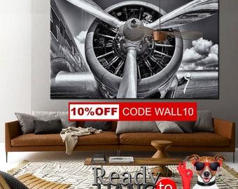 Aircraft Art Prints, Canvas Panels, Art Canvas Print, Original Wall Home, office decor interior, airplane propeller, propeller canvas