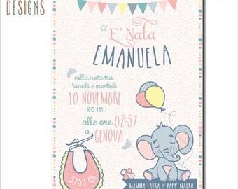 Poster birth | Press | Postcards | Gift Idea | Newborn | Illustrations | Customizable | Decorate kids room | CONTACT US!