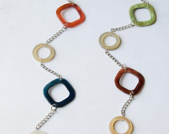 Long necklace colorful horn rings & squares 3 colors