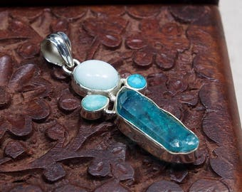 "Natural Dyed Crystal Blue Aquamarine And Turquoise Pendant Gemstone 925 Sterling Silver Handmade Girlfriend Gift  Wife Birthday 2.15"" D1300"