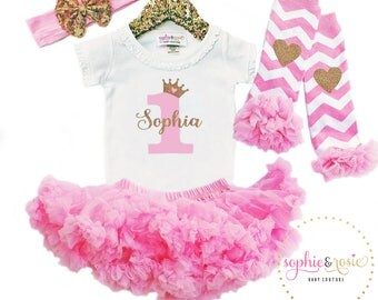 First Birthday Outfit, Personalized 1st Birthday Outfit Girl, One Birthday, Girls Gold Pink Birthday, Birthday Princess, Pink Tutu