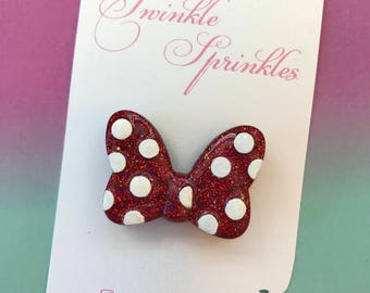 Minnie Mouse style bow brooch / necklace