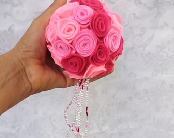 Wedding flower ball Pink wedding decor Party Color pink flower girl bouquet Kissing ball Party decor Aisle  flowers Christmas tree ball