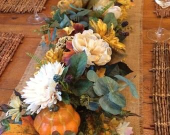 "Lush fall garland, 50"" Gold and cream garland, Fall floral garland, Fall decor, Rustic floral garland, Country garland, Floral burlap runner"