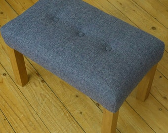 Upholstered in Harris Tweed this rectangled footstools legs are made of Scottish Oak, Harris Tweed,  Foot stool, Upholstered footstool