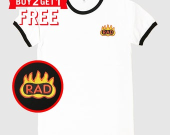 Rad and Fire Embroidered Ringer T-Shirt by 24PlanetsStudio