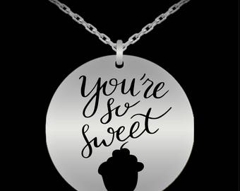 You're So Sweet Cupcake Sterling Silver Necklace Valentine Jewelry Gift Birthday Anniversary I LOVE You Present Daughter Wife Gift