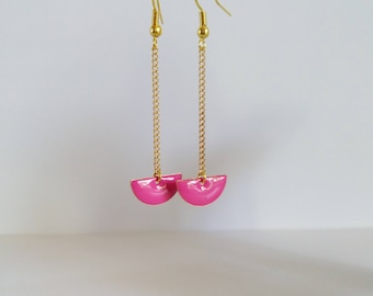 Earrings dangle half moon fuchsia pink enamel