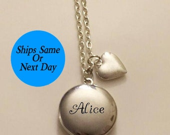 Engraved Locket, Silver Round Locket, Engraved Locket Necklace, Locket Necklace, Silver Locket Necklace, Gift for Her, Gifts Under 30