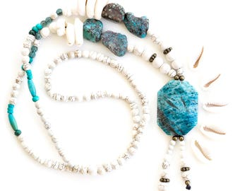 Ocean Empress Necklace // Shell Jewellery // Blue Stone Necklace // White // Gemstone Jewellery // Iolite // Howlite // Turquoise // Shells