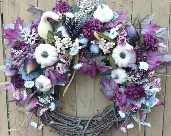 Fall Wreath, Wreaths, Wreath, Halloween Wreath, White Pumpkin Wreath, Thanksgiving Wreath, Harvest Wreath, Autumn Wreath
