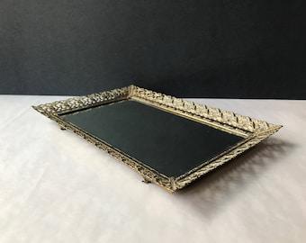 Vintage Brass Framed Mirror Vanity Tray - Antique Rectangular Bathroom Perfume Tray / Bar Tray / Vintage Brass Filigree Mirror