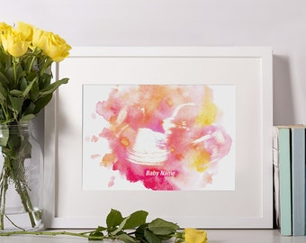 Print Only - Personalised baby scan water colour print -  Pregnancy Gift, New Mum Gift, Pregnancy Announcement, Present, Baby Shower Gift