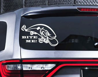 Fisherman Decal Fish Decal Bite Me Car Sticker Boat Decal Decal Sea River Ocean Sticker