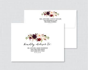 "EDITABLE Wedding Envelopes - Printable, Editable Pink and Marsala Floral Wedding Envelopes with Calligraphy ""Kindly Deliver To:"" Rustic 0006"