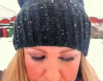 Black with White Fleck Ribbed Slouchy Beanie