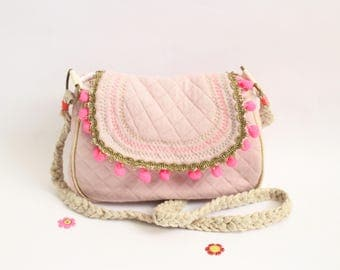Child flap and boho style shoulder bag