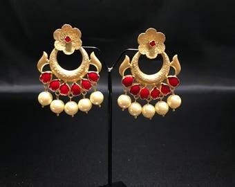 Indian Jewelry - Indian Earrings - Bollywood Earrings - Bollywood Jewelry - Kundan Polki Jewelry - Red Earrings - Pakistani Earrings -