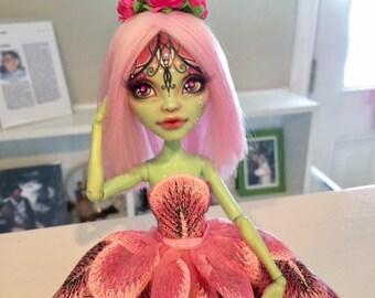 Monster High OOAK Faceup Repaint Doll Pink Butterfly