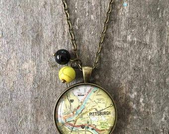 Handmade Vintage Map Glass Pendant Necklace
