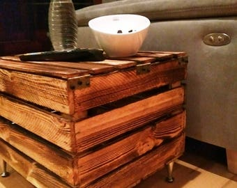 Coffee table wood from crate, wooden chest, magazine box, newspaper crate, stool, wooden stool, living room furniture, side table, table, coffee table,