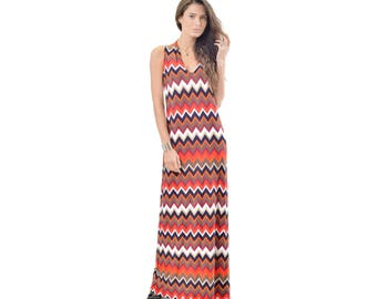 Red Chevron Maxi Dress, Sleeveless Dress, Racerback Dress, Size S XL Made in USA