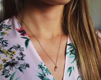 Rose Quartz Necklace, Rose Quartz Jewelry, Pink Necklace, Rose Quartz Crystal Necklace, Rose Necklace, Pink Quartz Pendant, Tiny Necklace