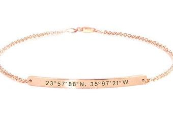 Personalized bracelet for women, Friendship Bracelet, Gps Coordinate, Bracelet bar, Wedding gift, Bridesmaid gift, Engraved bracelet.