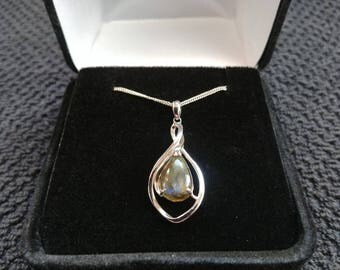 Labradorite Gemstone Solid Sterling Silver Necklace