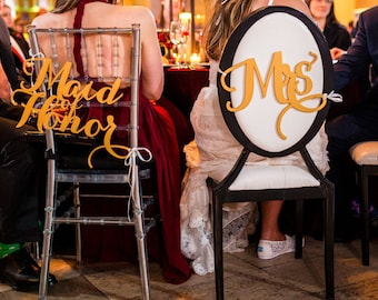 Chair Sign - Chiavari Chair Decor - Wedding Chair Signs Decoration - Chair Signs for Wedding - Bride/Groom