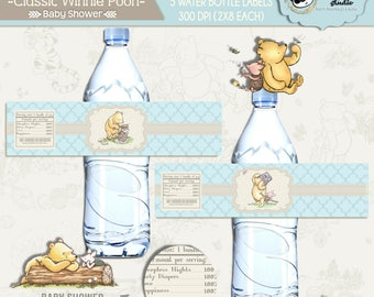INSTANT DOWNLOAD|| Classic Winnie Pooh||Baby shower Water bottle labels||Baby Boyl||PRINTABLE||