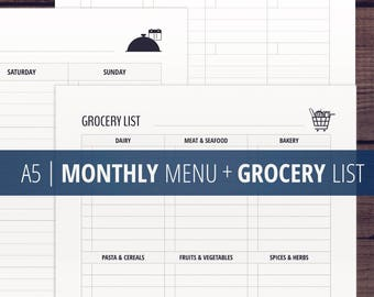 Monthly Menu + Grocery List Printable  / A5 Meal Planner Printables  / Shopping List / Minimalist / a5 Filofax Printable Insert / Download
